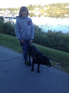 Ethan walking Casey along the Hubbards waterfront